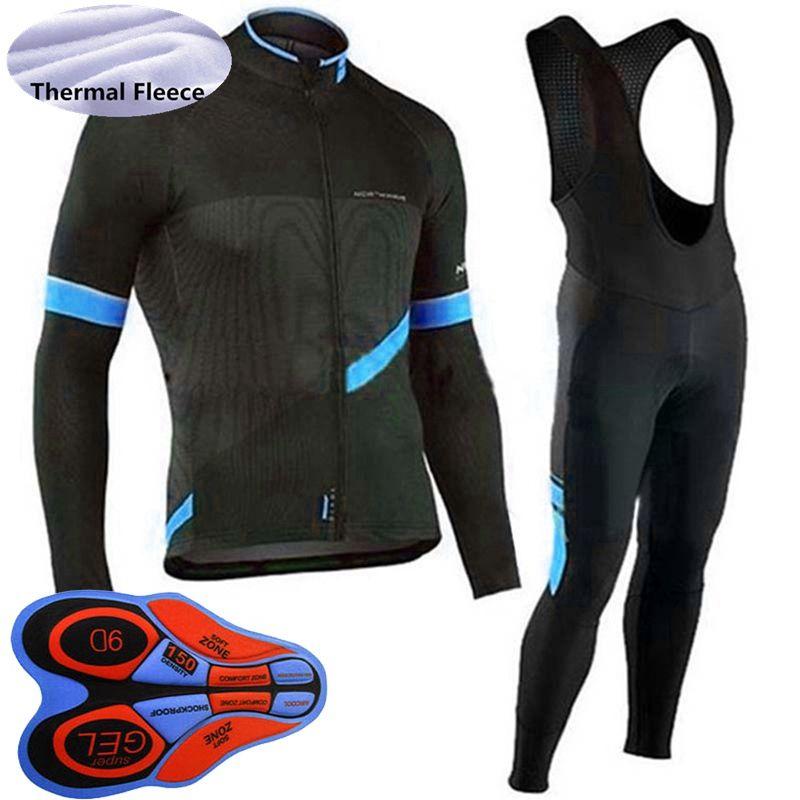Männer NW-Team 2019 Thermofleece Radtrikot Set Neues Fahrrad-Bekleidung Langarm Bicicleta Maillot Ropa Ciclismo Hombre Y092102 Winter-