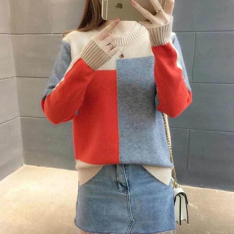 pullover xO3NY N5O6R doces cor das mulheres de malha pullover solta 2020 correspondência no início do outono cor estilo coreano novo manga longa pulloverCandy b