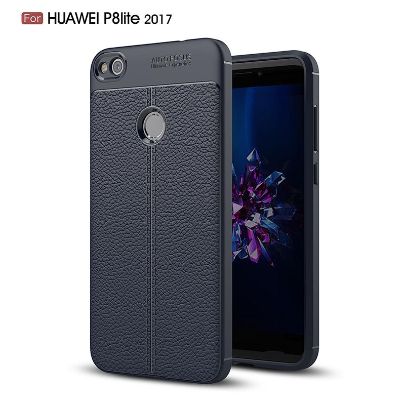 For Huawei P8 Lite 2017 Case Ultra Thin Slim Silicone Litchi Grain TPU Leather Shockproof Absorption Bumper Protective Cover