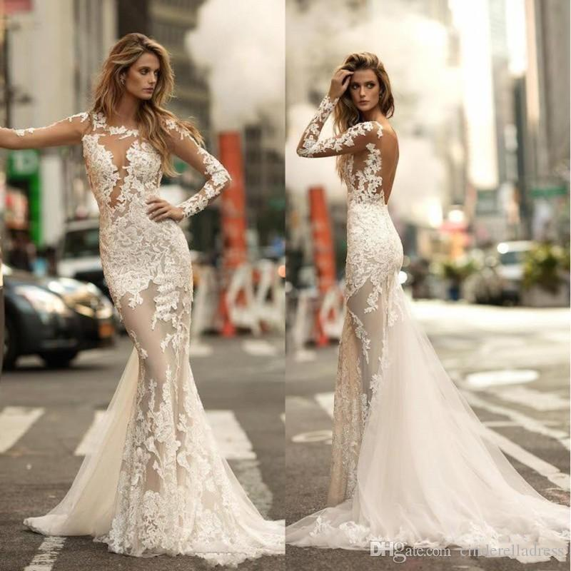 2020 Berta Sexy V Back Sheer Long Sleeve Vintage Lace Court Train Wedding Dresses Mermaid Bridal Gowns BA4688