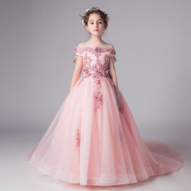 2020 빈티지 꽃의 소녀 드레스 사랑스러운 부르고뉴 의류 블루 퍼플 짙은 녹색으로 3D 꽃 레이스 활 투투 볼 가운에서 증권 저렴한