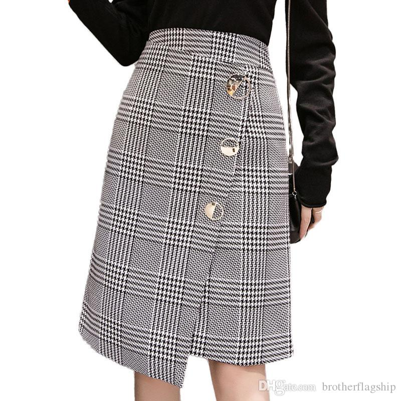 7b072612949de1 High Waist Asymmetrical Plaid Midi Skirt Women Korean Fashion Button Slim Elegant  Wool Skirt Elegant Ladies ...