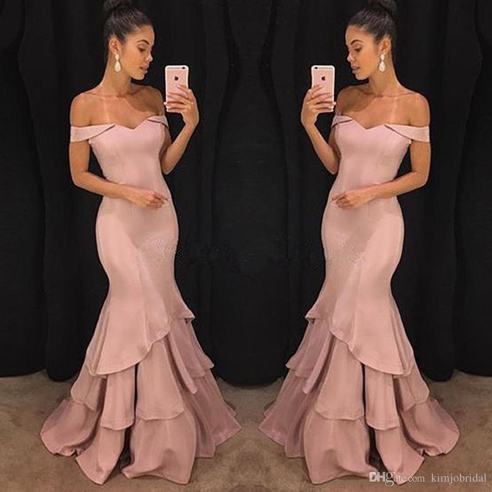 Großhandel Mermaid Prom Dresses 16 Pink Puffy Satin Ruffle Bodenlangen  Herzausschnitt Schulterfrei Abendkleider Kleider Von Kimjobridal, 16,16 €