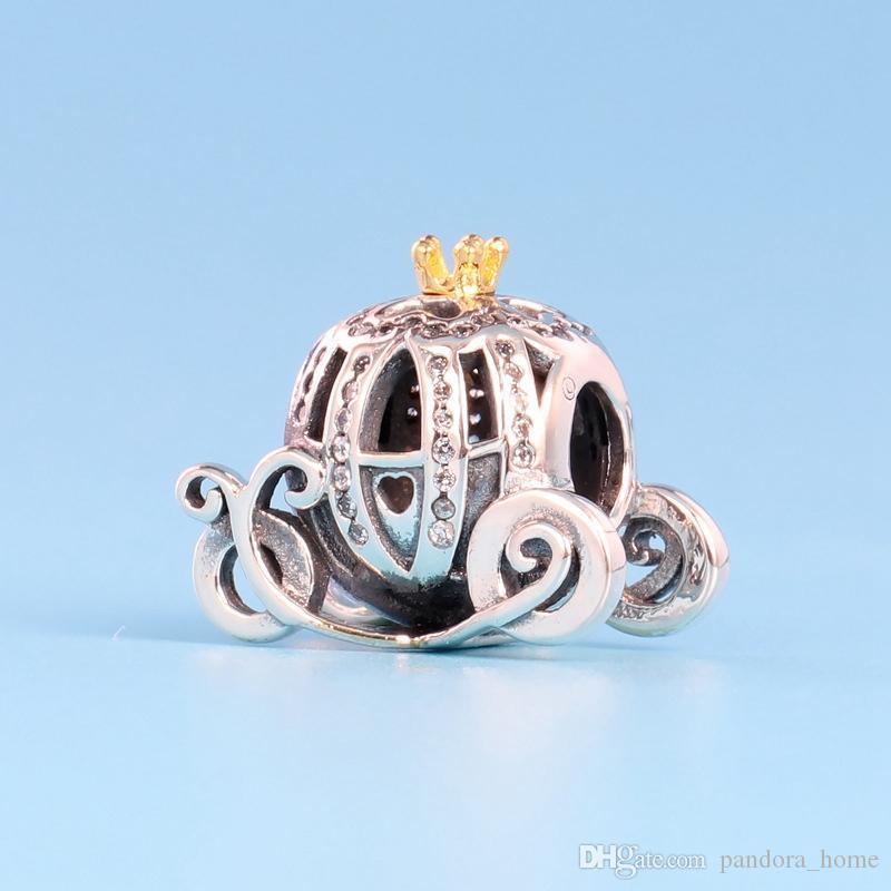 فاخر مصمم بريق الأميرة اليقطين سيارة 925 مجموعة فضة مع تشيكوسلوفاكيا الماس لباندورا عالية الجودة DIY الخرز سوار مع صندوق
