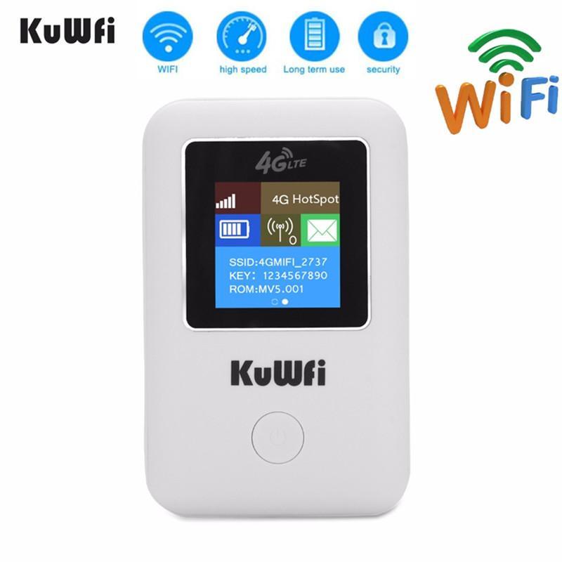 KuWFI 4G Wi-Fi маршрутизатор Портативный 3G / 4G LTE беспроводной маршрутизатор Unlock Портативный карманный Wi-Fi Hotspot карты Wifi С Sim карты