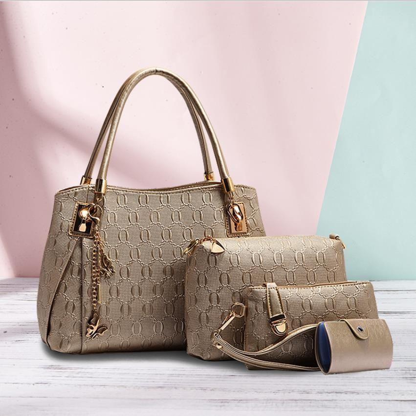 Women Handbag Messenger Bag Ladies Designer Crossbody Bags High Quality Lady Clutch Purse #b2a1 Retro Shoulder 4 Colors Lattice 3pcs Set