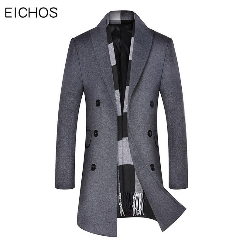 2019 зима длинное шерстяное пальто мужская мода двубортный мужской горох пальто толстый раздел Slim Fit бизнес сплошной цвет шерстяное пальто