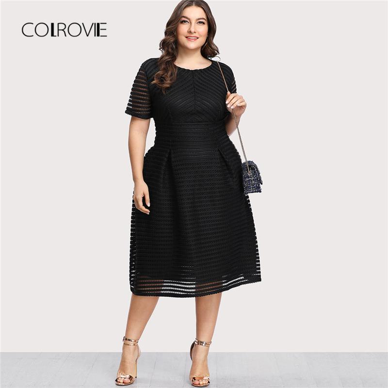 COLROVIE Artı boyutu Siyah Pileli Yüksek Bel Çizgili Mesh Şeffaf Seksi Elbise Kadınlar Sonbahar Parti Elbise Şık Uzun Elbiseler