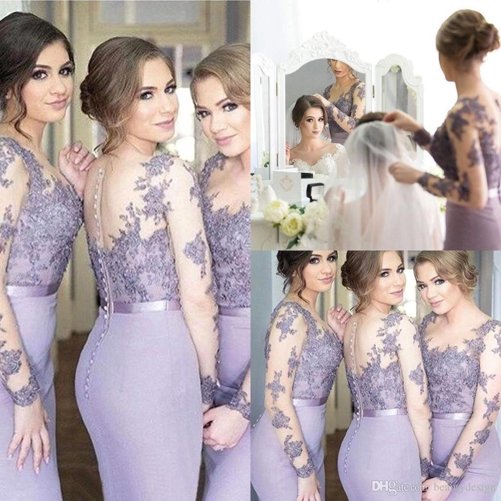 Elegant Lilac Mermaid Bridesmaid Dresses Sheer Neck Long Sleeves Sweep Train Bridesmaids Gowns With Lace Applique Illusion Back Party Dress