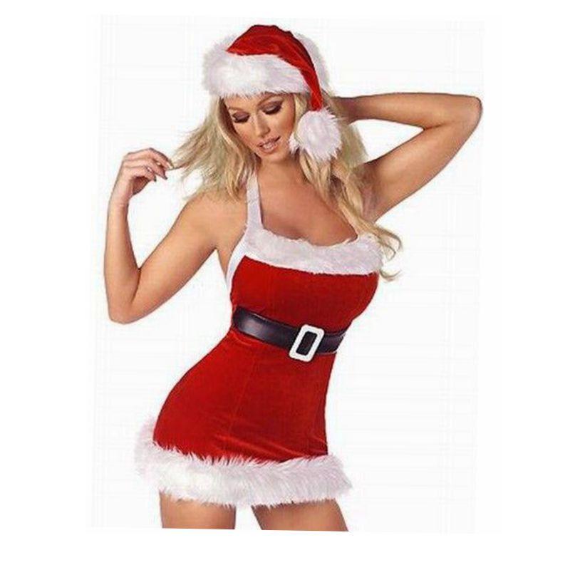 Costumes CFYH Mulheres Christmas Dress Sexy vermelhas do Natal de Papai Noel para o traje Xmas Adultos Uniforme Kimono