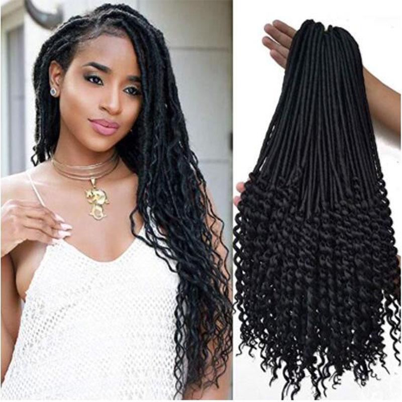 20 inch black Curly Faux Locs crochet Hair 1 packs soft Synthetic Crochet Braid Dreadlocks Braiding Hair for black women