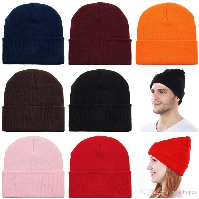 Moda Bere Şapka Örme Kafatası Kaflı Bere Unisex Sıcak Kış Şapka Elastik Hip Hop Kayak Spor Şapkalar Kız Erkek Katı Cap 23 Renkler