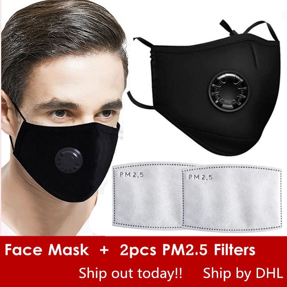 أقنعة DHL مجانا إعادة استخدامها الوجه مع صمام استراحة، والقطن قناع حماية قابلة لإعادة الاستخدام قابل للتعديل مع 2 PM2.5 فلاتر الفم قناع للمرأة رجل