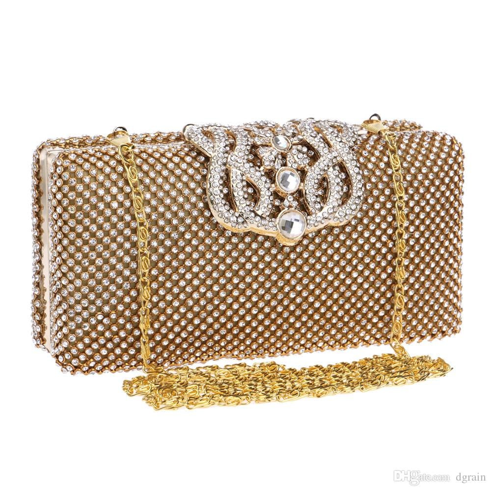 Frauen-Abend-Beutel Metallkupplungen Brautgeldbeutel-Hand Partei-Cocktail-Box-Ketten-Schulter Handtasche Clutch Handtasche