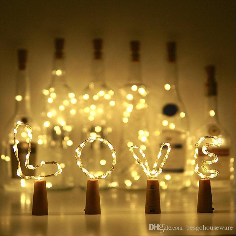 Waterproof LED Copper Wire String Lights For Xmas Party Wedding Decor 1M 10 LED Lamp Cork Shaped Bottle Stopper Light Glass Wine BC BH0976
