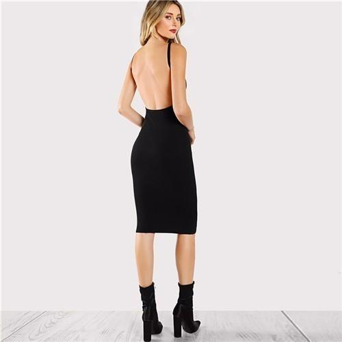 2019 Black Sexy Backless Low Back Pencil Summer Solid Evening Bodycon Club Short Dress Party Women Dress