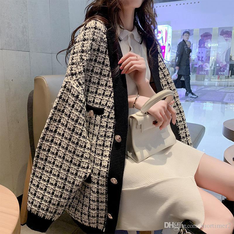 -Neck V Elegante Knit Cardigan Ladies Outono Inverno malha Camisolas coreano das mulheres do estilo da manta Cardigans sweters mulheres invierno 2019