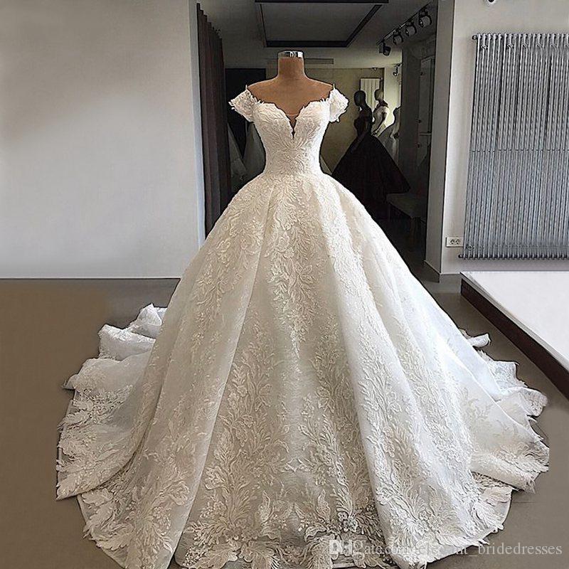 Uzun Balo Gelinlik 2019 V yaka kap Kol Şık Vintage Arap Stili Gelin Boncuklu Beyaz Gelinlikler