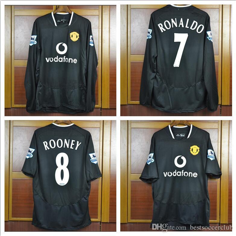Acquista Retro 2003 2004 2005 Calcio Maglie Man Utd Lontano Nero ROONEY GIGGS BECKHAM RONALDO 03 05 Unita Camicia Di Calcio Retrò A 32,04 € Dal ...