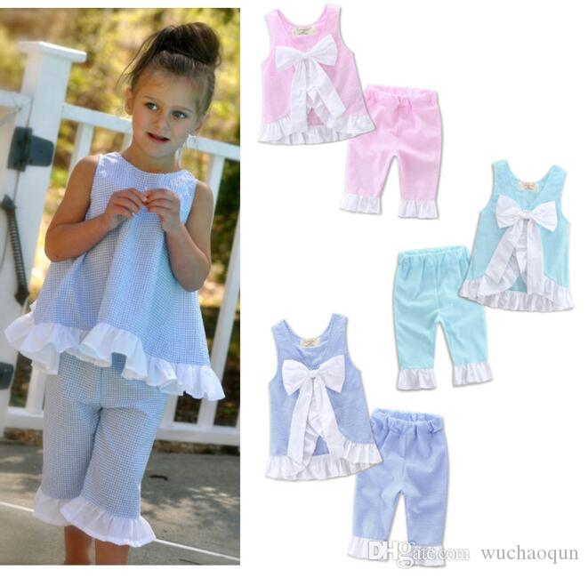 Girls Clothing Sets INS Baby Kids Clothes Ruffled Bow Tops Pants Suits Baby Grid Shirts Shorts Girl Summer Fashion Petal Outfits 2019 BY0753