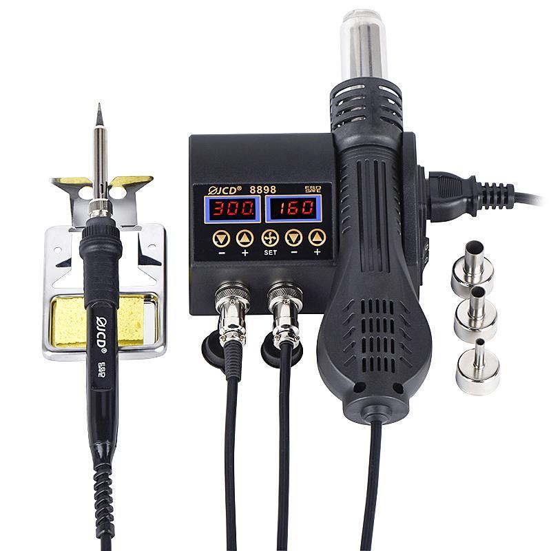 2 in 1 750 W Sıcak Hava Tabancası LCD Dijital Ekran Kaynak Rework Station Cep Telefonu BGA SMD PCB IC Onarım Lehim Demir Saç Kalıp 8898