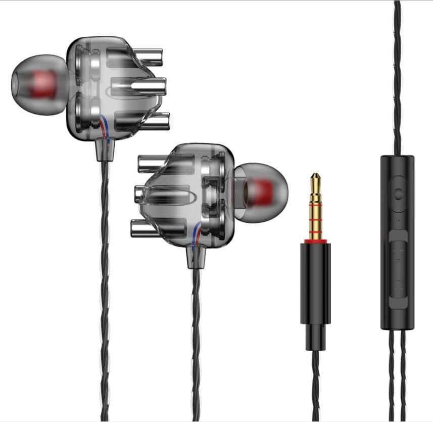 가방 마이크 투명 쿼드 코어 3.5mm의 이어폰 유선 이어폰 샤오 미 Redmi A6 삼성 헤드셋에 대한 동적 이어폰