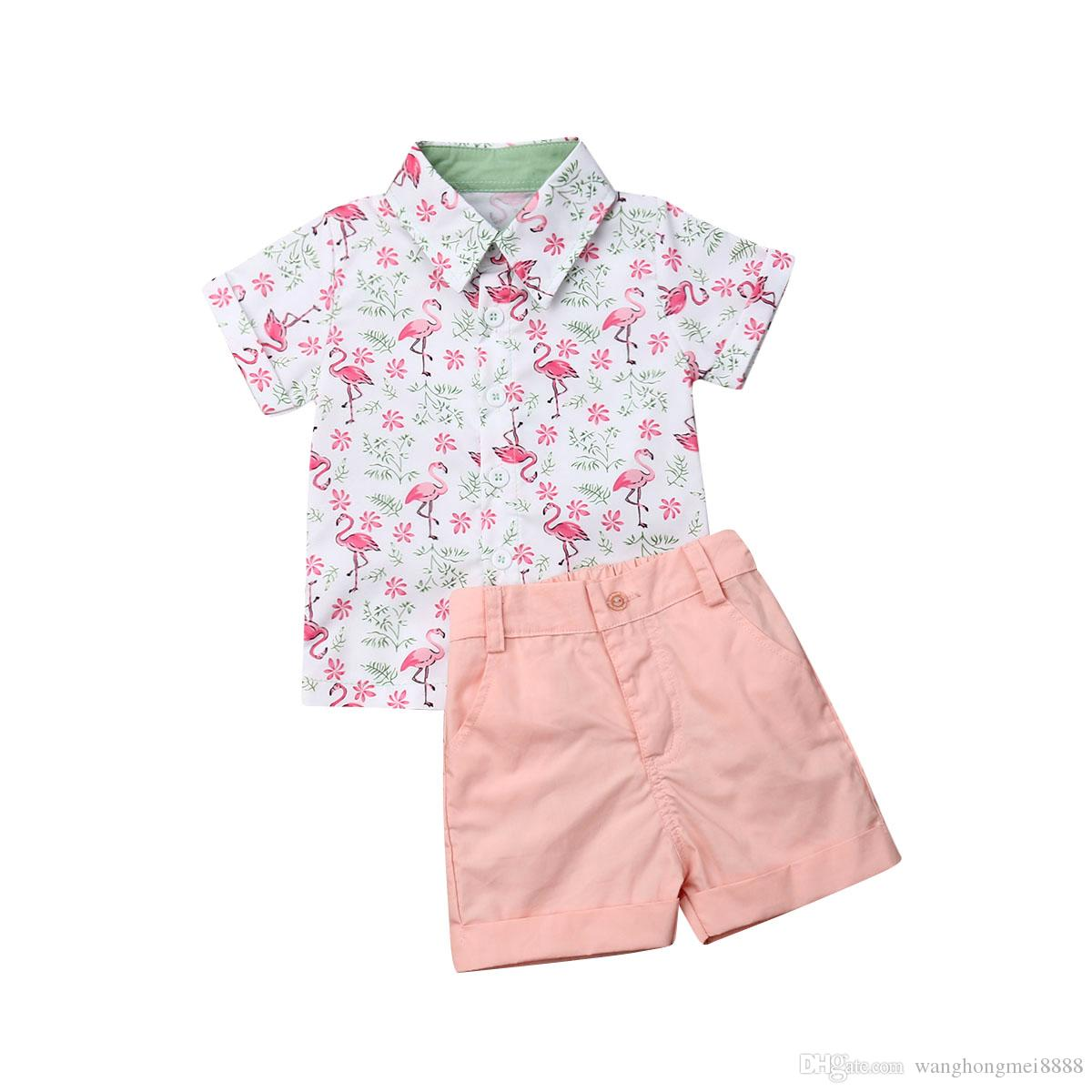Emmababy 2019 de verano Moda Bebé niño niños ropa de niño Flamenco tapas de la camisa + pantalones de caballero Ropa de playa Trajes 2pcs