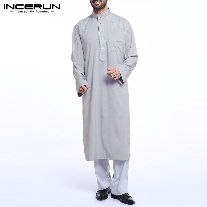 Compre Incerun Para Hombre Musulmán Arábigo Saudita Thuebe Kaftan Vestido Roba Manga Larga Jubba Thobe Hombres Saudita árabe Musulmán Ropa Islámica 5xl 2020 A 15 7 Del Dennicome Es Dhgate Com
