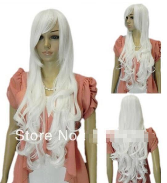 무료 배송 + 새로운 보그 긴 곱슬 물결 모양의 흰색 코스프레 여성 vocaloid 합성 머리 가발 가발