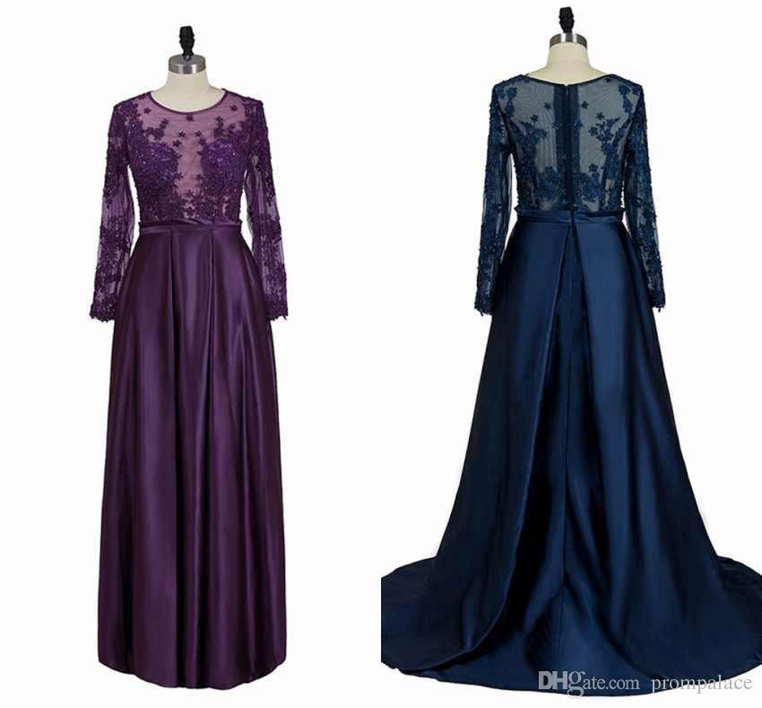 Gorgeous Mother Of The Bride Dresses Jewel Neck Long Sleeves Lace Appliques Beaded A-Line Prom Dresses