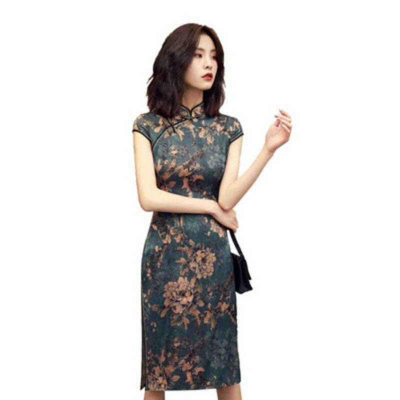 Qipao Cheongsams Robe chinoise femmes coton traditionnel Vintage imprimé à manches courtes robe cheongsam Robe Femme Robes