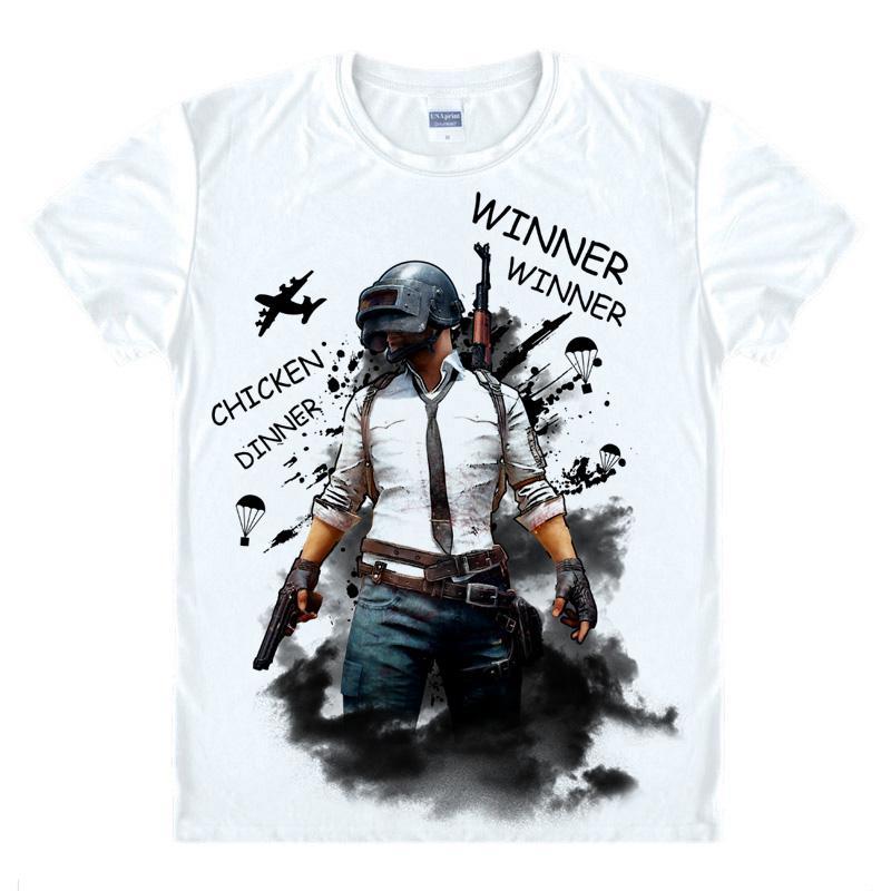 PlayerUnknown/'s Battlegrounds PUBG T-shirt Winner Chicken Dinner Tee Shirts Tops