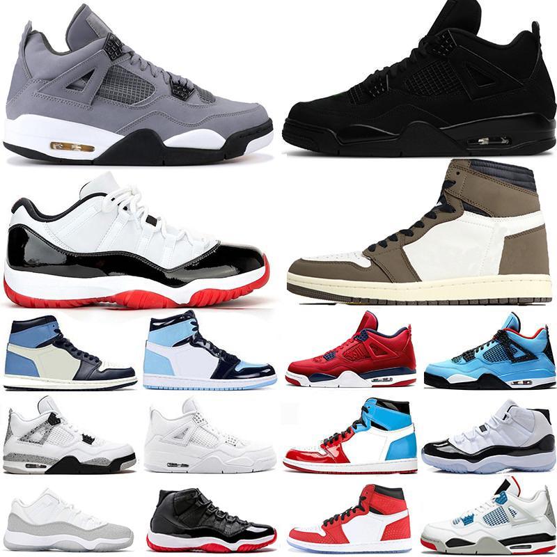 HOTSALE 2019 zapatos Gato Negro 4s FIBA de baloncesto del Mens Bred 11s Blanco Rojo Concord 45 1 Alto Travis Scotts hombres se divierten las zapatillas de deporte