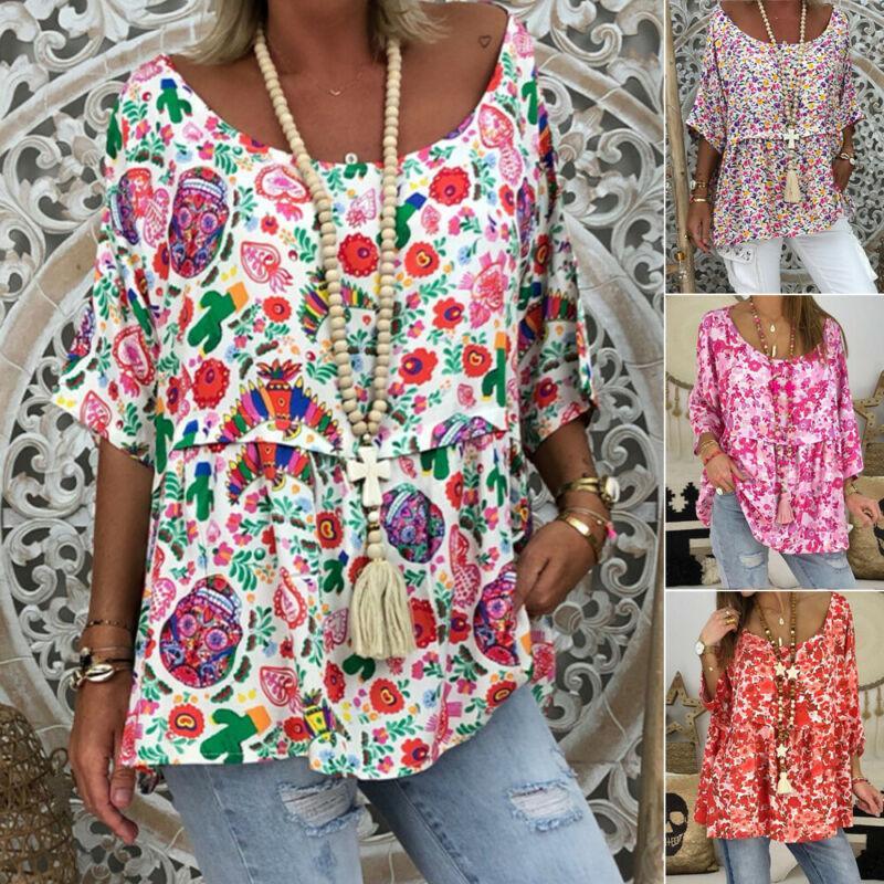 Casual Summer Beach Camisetas de mujeres medio de la manga del cuello redondo impreso floral de la camiseta de señora Boho camiseta floja Puls Tamaño FEMM ropa