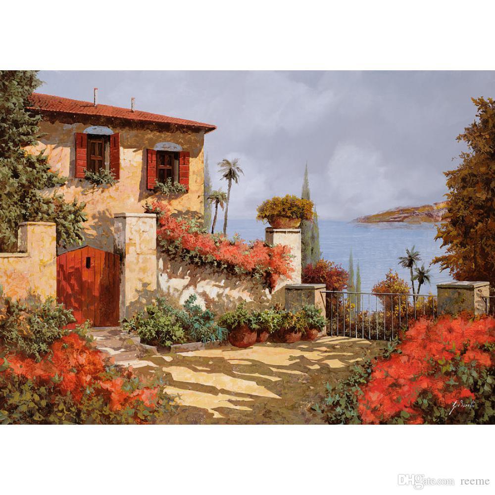 Paisajes pintados a mano pinturas al óleo El lienzo jardín rojo para la decoración de la pared