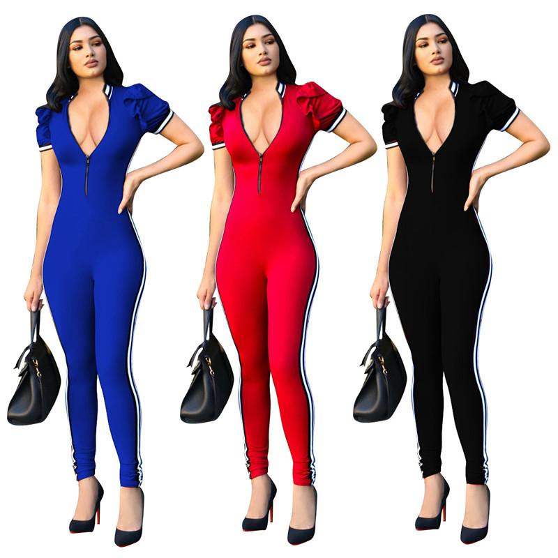 Sexy Bodycon Jumpsuit Long Romper Short Sleeve Bodysuit Women Zipper V Neck Jumpsuits 2019 Summer Side Striped Playsuits Overall
