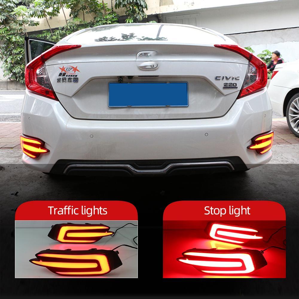 Для Honda Civic 2016 2017 2018 Отражатель Автомобильные светодиодные задний фонарь Задний противотуманный фонарь Бампер Свет Авто лампы стоп-сигнал