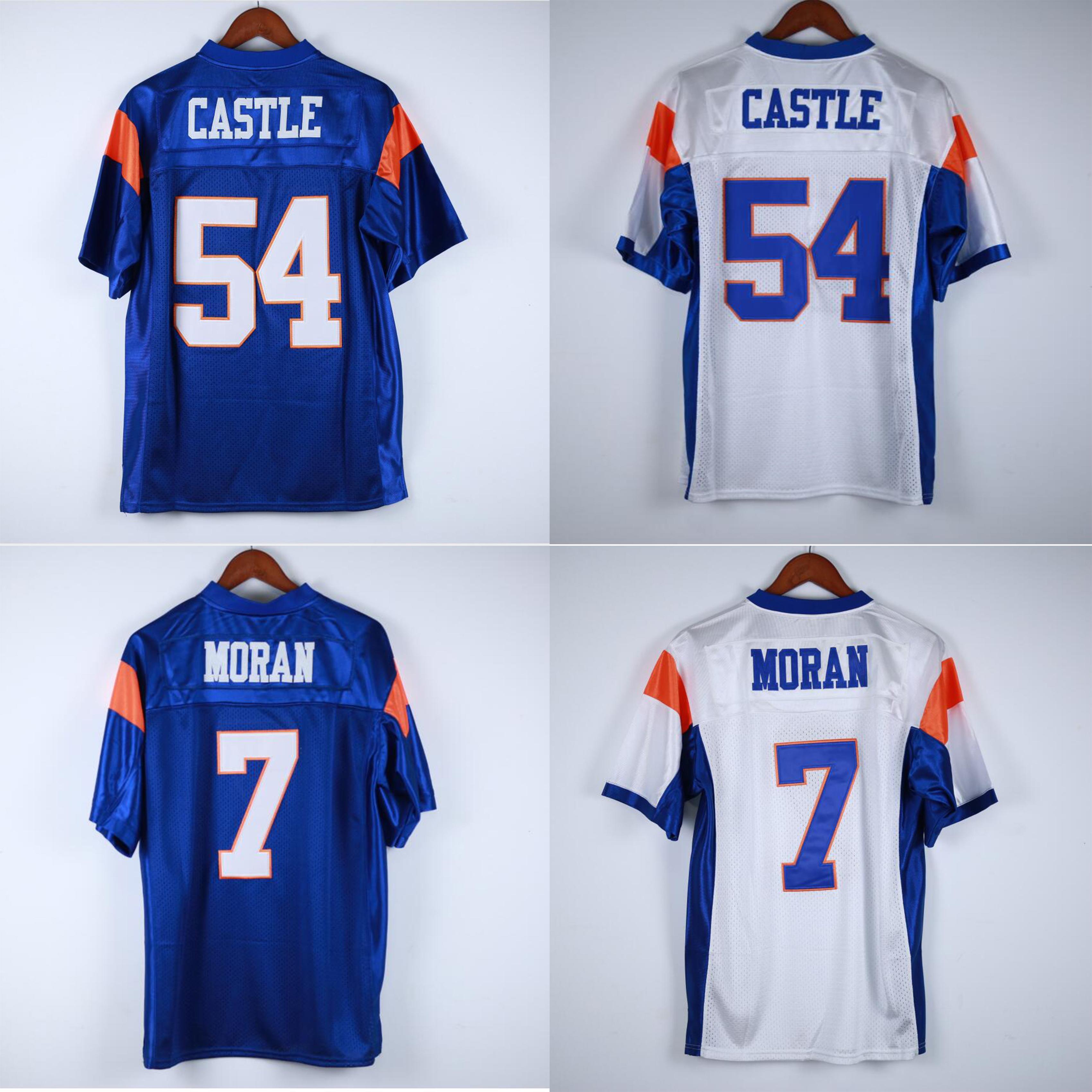 7 Alex Moran 54 Thad Castle Football Jersey Blue Mountain State BMS TV Afficher chèvres Double Nom et Number Qualité supérieure