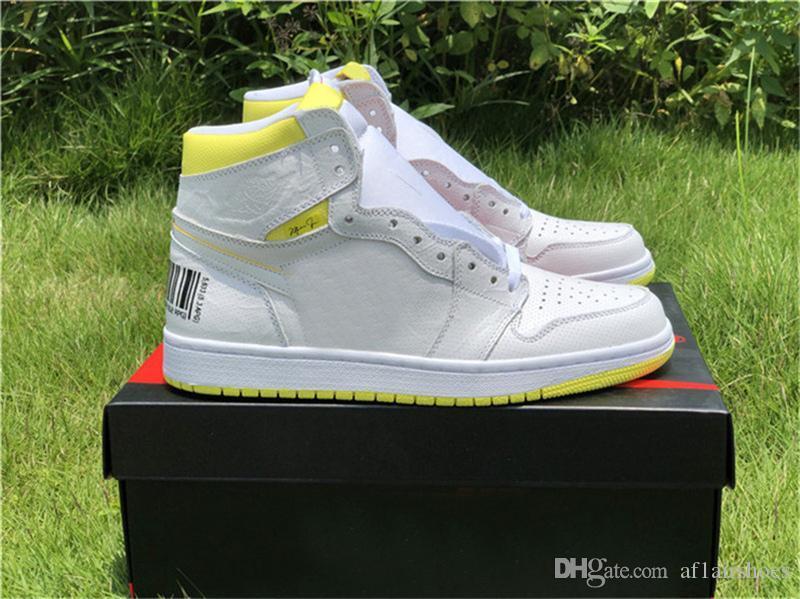 2019 Yeni 1 Birinci Sınıf Uçuş Basketbol Ayakkabıları Eğitmenler Tasarımcı 1 s Beyaz Sarı Barkod Kadın Sneakers Sepetleri des Chaussures Schuhe