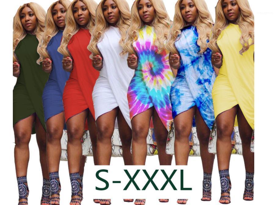 Abito femminile Croce Maniche corte elegante colore dell'arcobaleno Abiti estate sexy delle donne