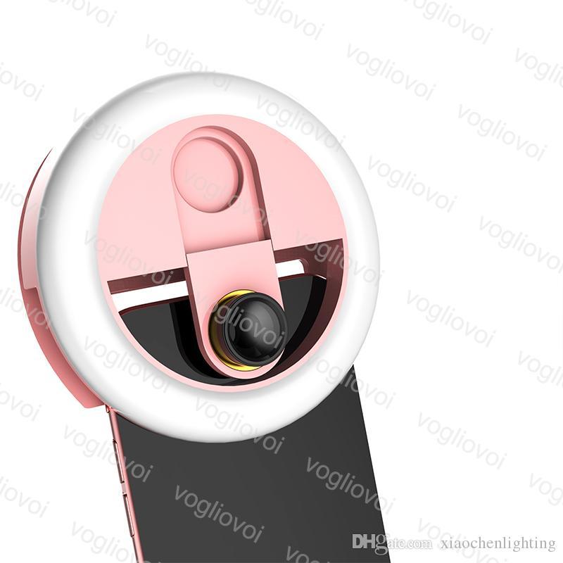 Yenilik Aydınlatma Selfie Yüzük Işıkları Dim 0.63x Kamera ile USB Şarj Edilebilir 3 Modu Lens Taşınabilir Flaş Klip Işık Güzellik Live iPhone DHL