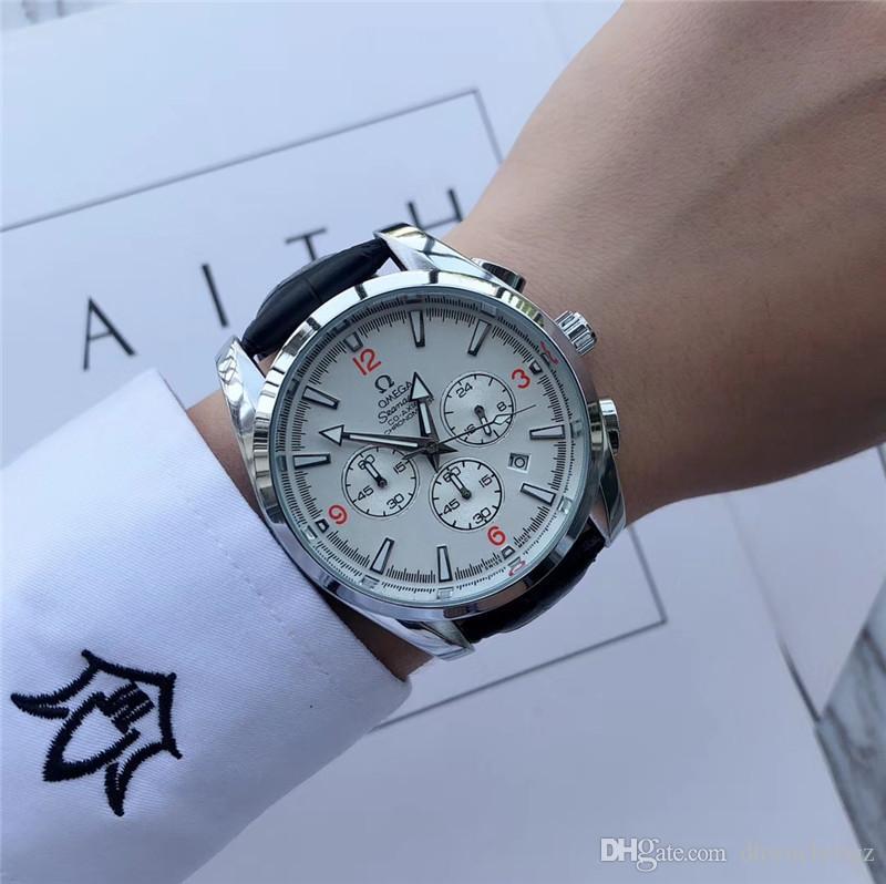 новое качество морской конек бренд кожа роскошные мужские watchesAAA модельер мужской бизнес часы все суб циферблаты работа di lusso