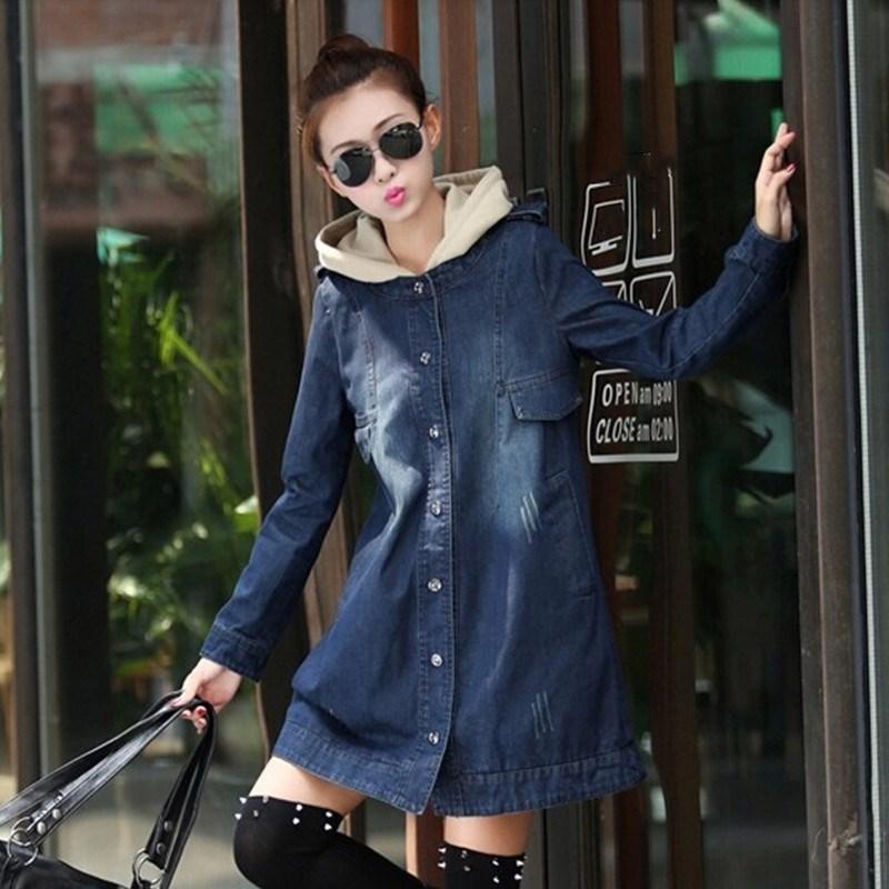 Women Long Hooded Trench Plus Size 2019 New Spring Long Sleeve Trench Coat Female Denim Coat