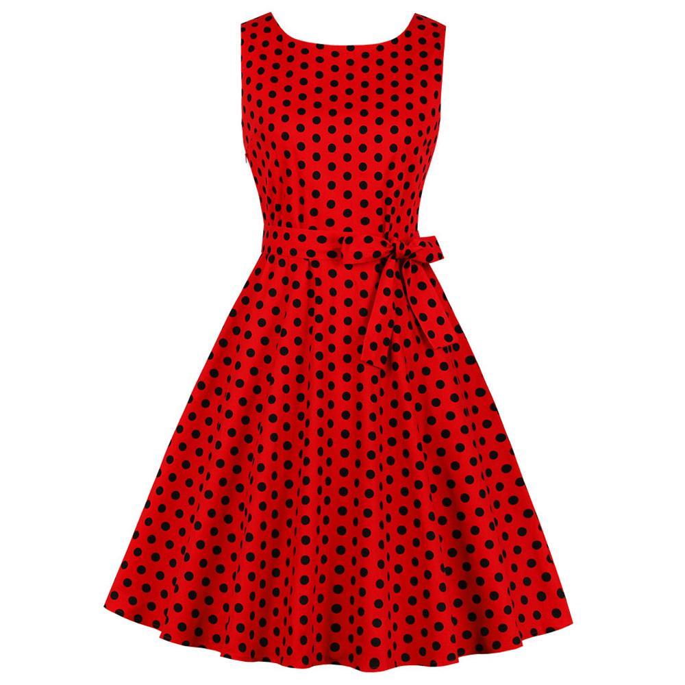vendita all'ingrosso donne sexy scollo a V senza maniche abito vintage rosso stampa polka dot partito abiti rockabilly pin up altalena cintura abito retrò