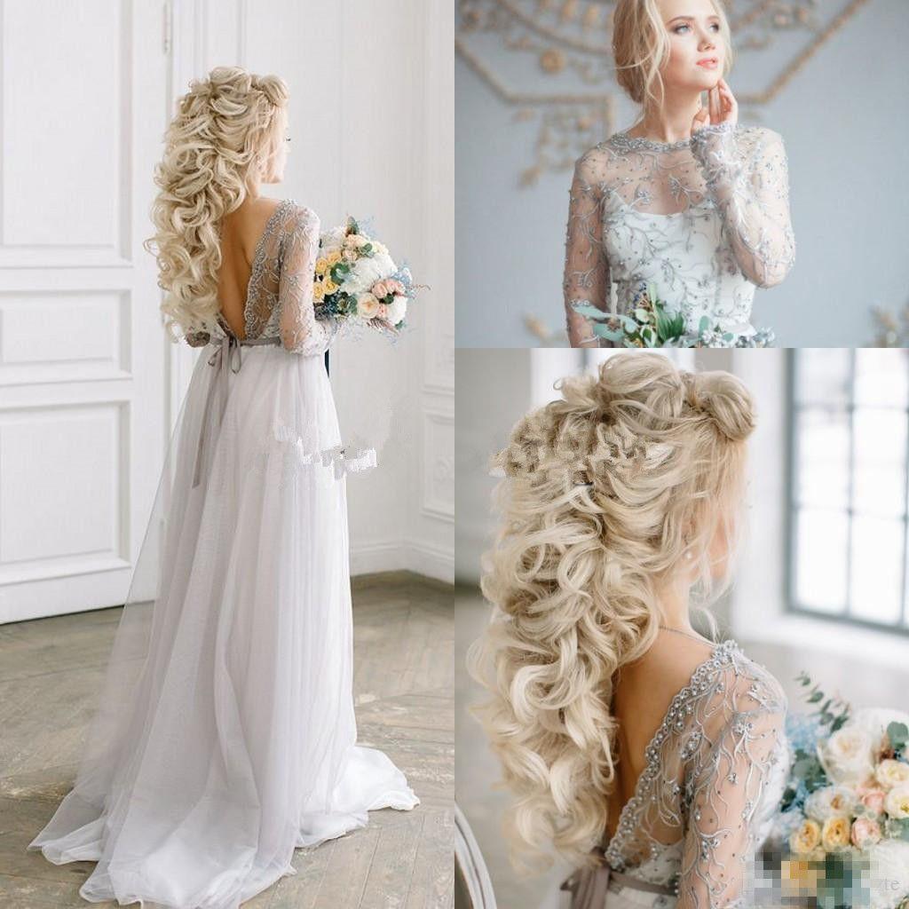 Bohomian Light Grey Beach Abiti da sposa Abiti da sposa a linea Gioiello Perle perline per perle sash Boho Giardino Maniche lunghe Abito da sposa da sposa su misura