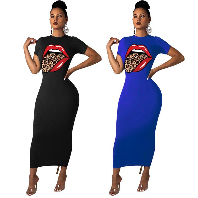 Robes Femmes Mode Solide Couleur Lèvres Vêtements à manches courtes Robes Casual Crew Neck Robe Vente Printemps Eté Sexy Hot Vêtements 2941