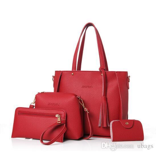 Женская сумка Set Top-Handle Большая емкость Женская сумка с кисточкой Модная сумка на ремне Кошелек Женская PU Кожаная сумка через плечо