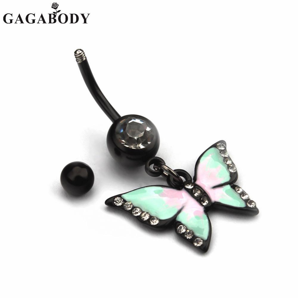 Trendy 1PC Anelli dell'ombelico dell'ombelico della farfalla bianca / rosa Anelli di modo penetranti del corpo Anelli dell'ombelico dell'acciaio chirurgico 316L