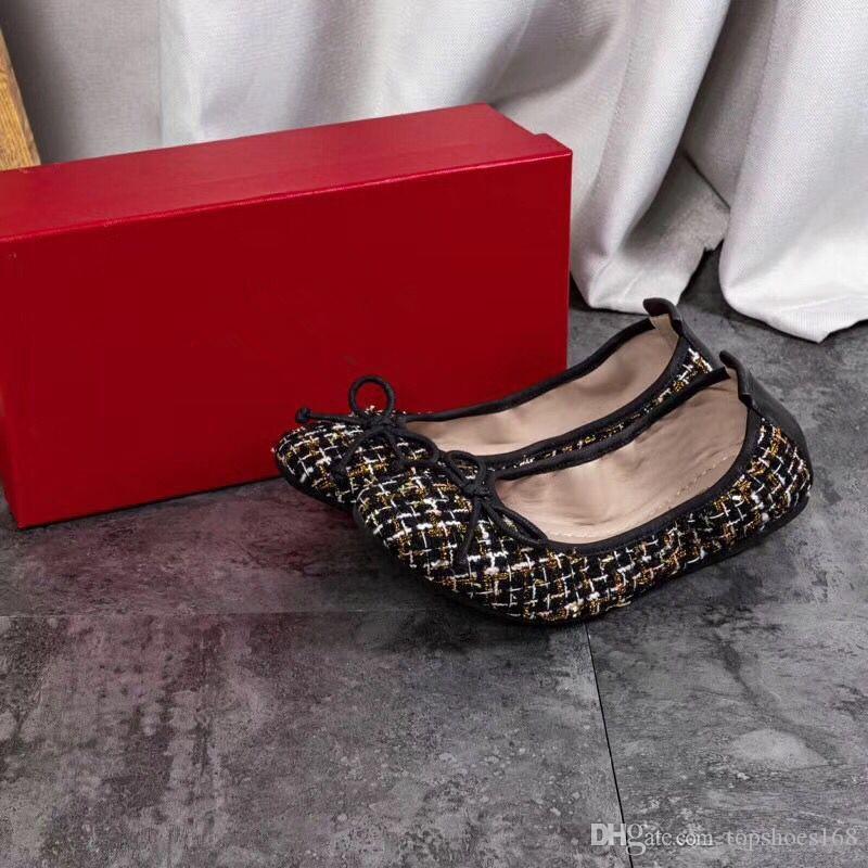 مصمم أحذية قماش جلد الغنم الحقيقي الباليه المرأة مضخات أنثى FLAT السيدات الزفاف فستان الزفاف العلامة التجارية أحذية حجم 35-30 مع مربع S2P