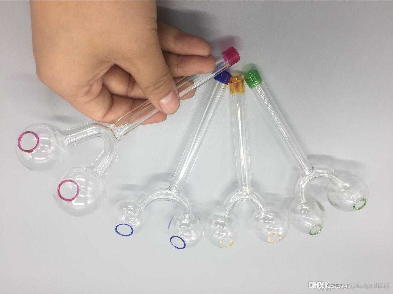 nuevo estilo 14cm tubos de vidrio de cristal del aceite quemador quemador doble fumar en pipa de agua Tubo para bongs de vidrio hookah EN STOCK